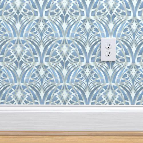 Wallpaper Light Blue Art Deco Pattern