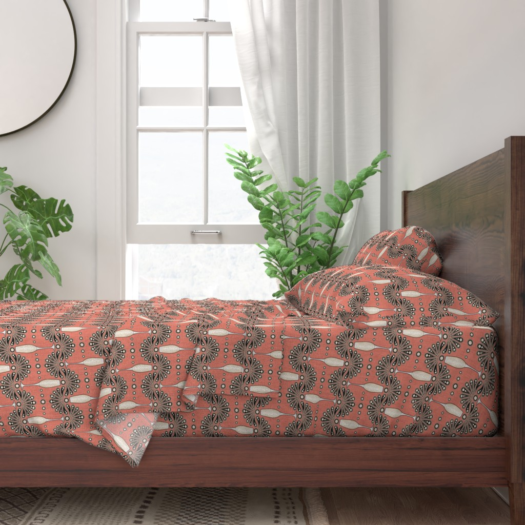 Champagne Vintage 1920s Art Deco Coral 100 Cotton Sateen Sheet Set By Roostery Ebay