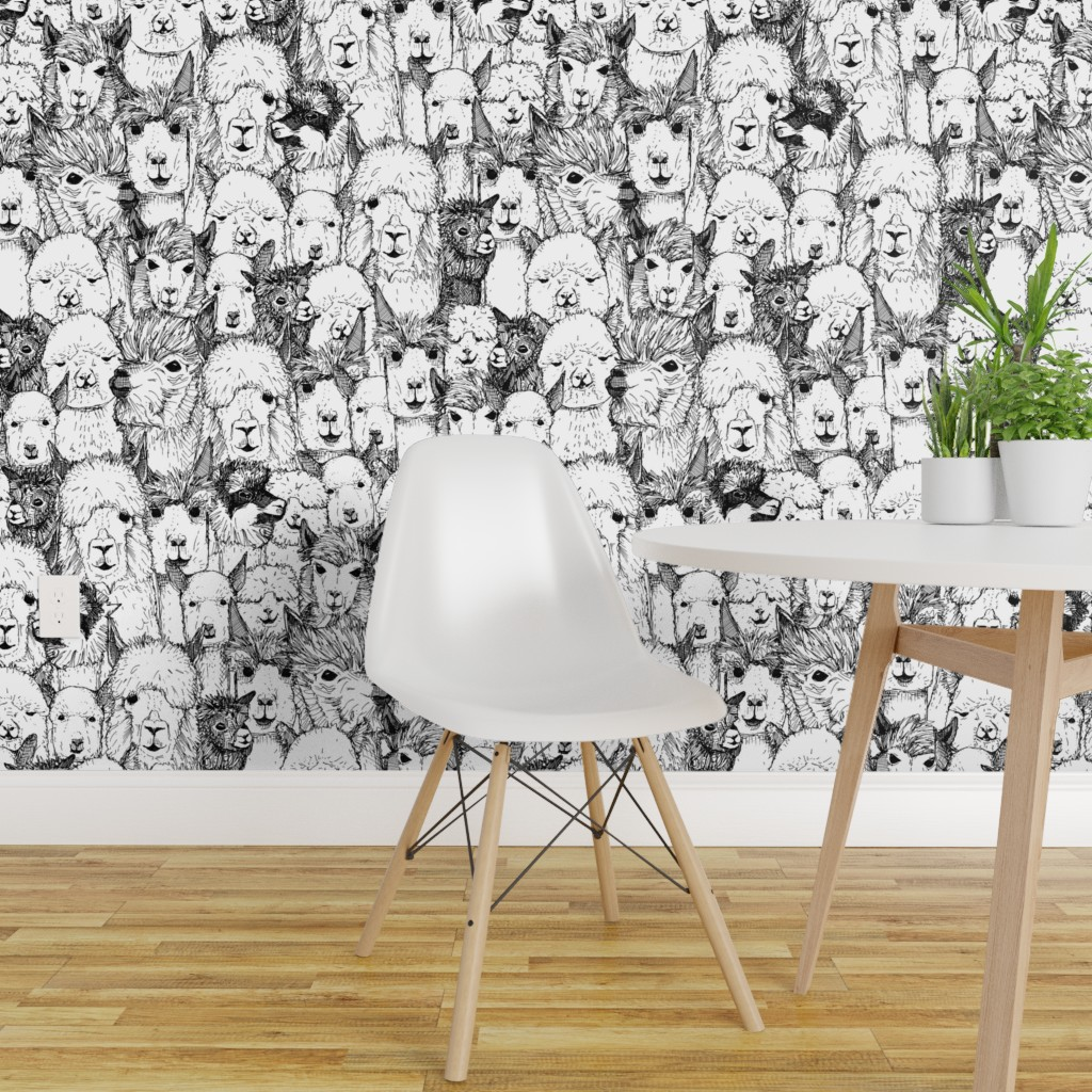 Details About Peel And Stick Removable Wallpaper Alpaca Black White Modern Home Nursery Animal