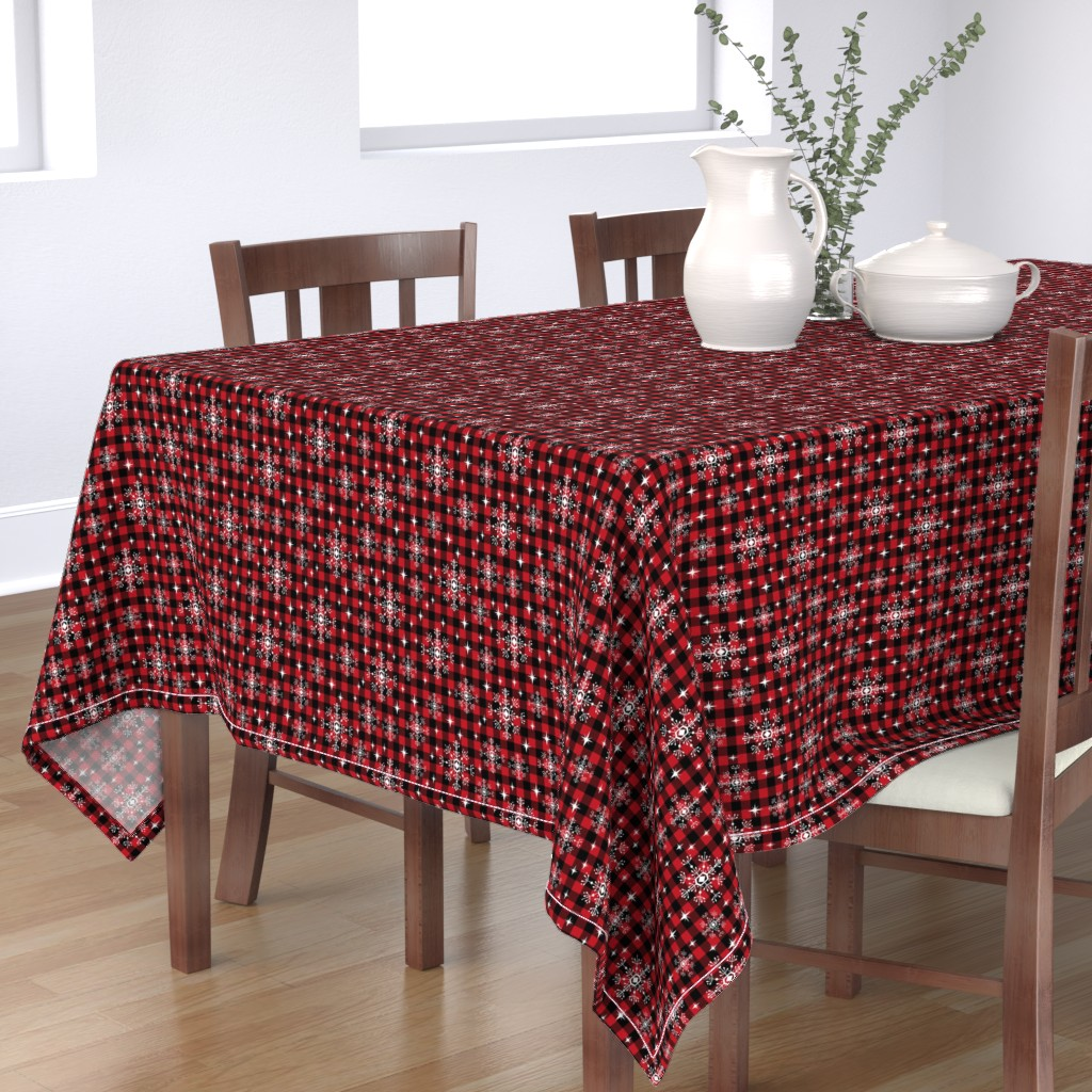 buffalo plaid snowflakes winter christma - Spoonflower