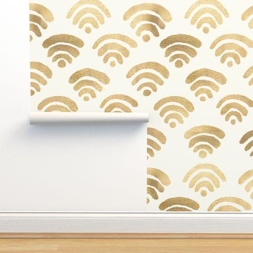 Wallpaper Gold Wifi Pattern