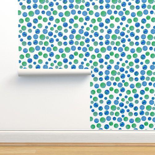 Wallpaper Watercolor Planet Polka Dots Pattern