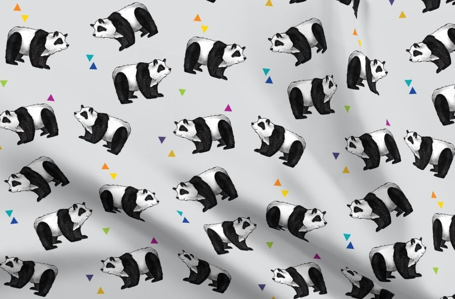 Colorful fabrics digitally printed by Spoonflower - Pandas Everywhere! on  grey with rainbow hearts