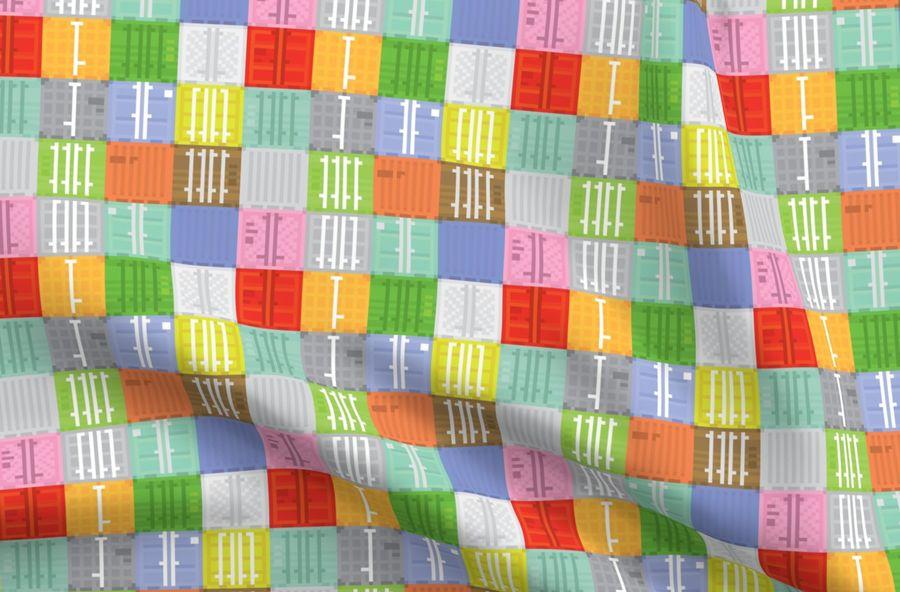 Tissus Colorés Imprimés Numériquement Par Spoonflower Pixel Art Shipping Containers