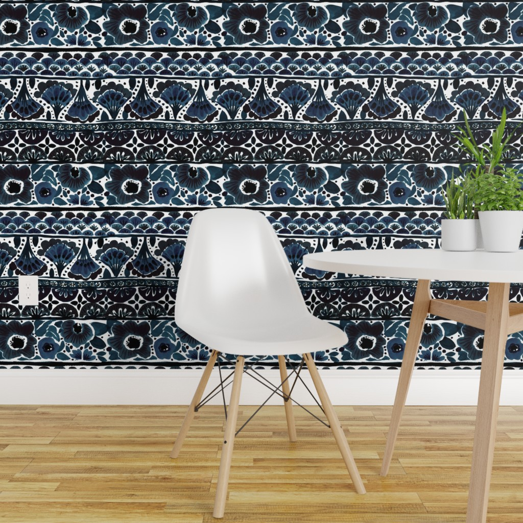 Details About Peel And Stick Removable Wallpaper Blue Floral Bohemian Boho Stripe Indigo