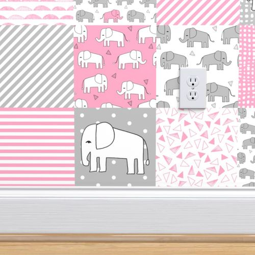 Wallpaper Elephant Quilt Pink And Grey Elephants Fabric Nursery Baby