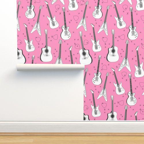 Wallpaper Guitars Pink Guitar Fabric For Girls Rock Bands Electric Guitars Music Print