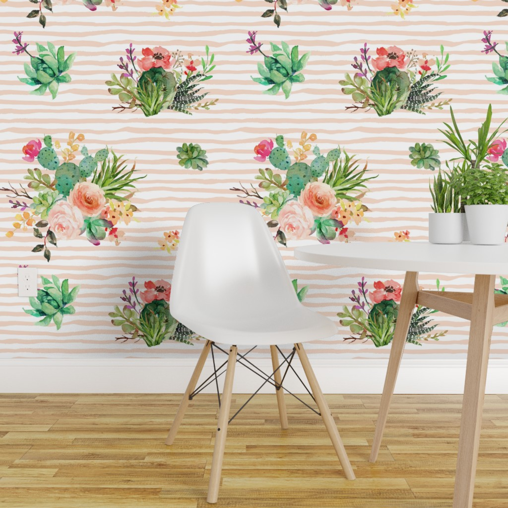Wallpaper Roll Striped Floral Stripes Peach Aztec Cactus Pink 24in