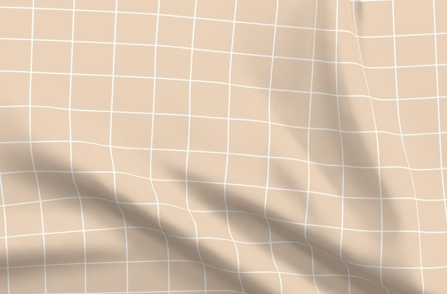 Grid - pastel nude dusty pale orange squares fabric - sunny_afternoon - Spoonflower