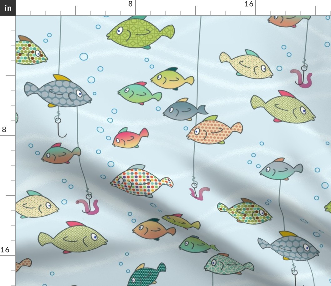 Details About Patterned Fish Rainbow Nursery Decor Fishing Fabric Printed By Spoonflower Bty