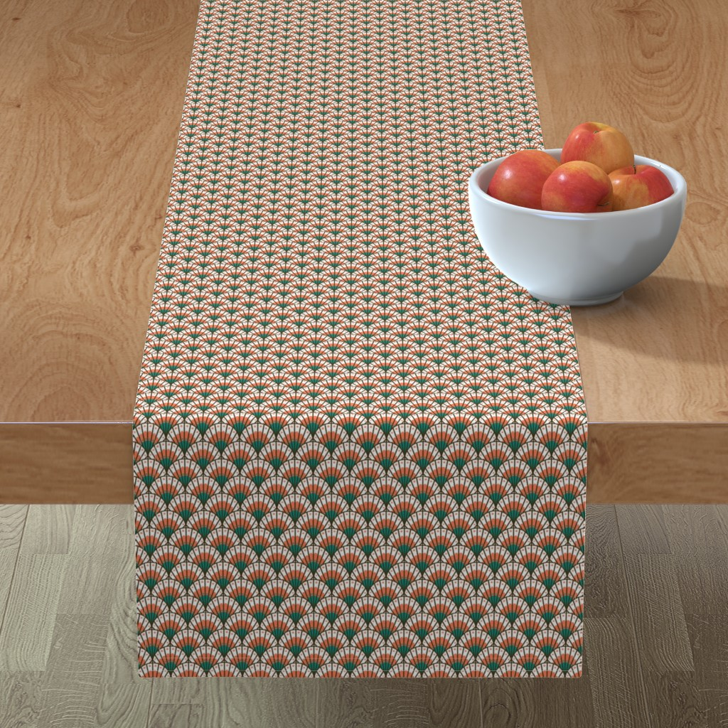 Table Runner Coral Mint Scallop Shell Mod Scales Scalloped Cotton Sateen Ebay