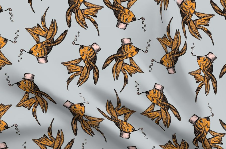 Colorful fabrics digitally printed by Spoonflower - Goldfish and Bubble Pipe