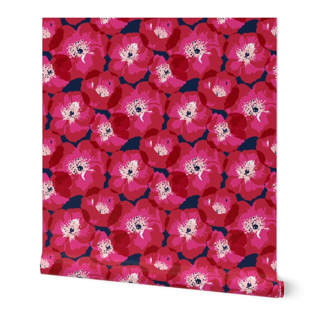 Wallpaper Roll Poppies Poppy Floral Flowers Red Pink Navy 24in X