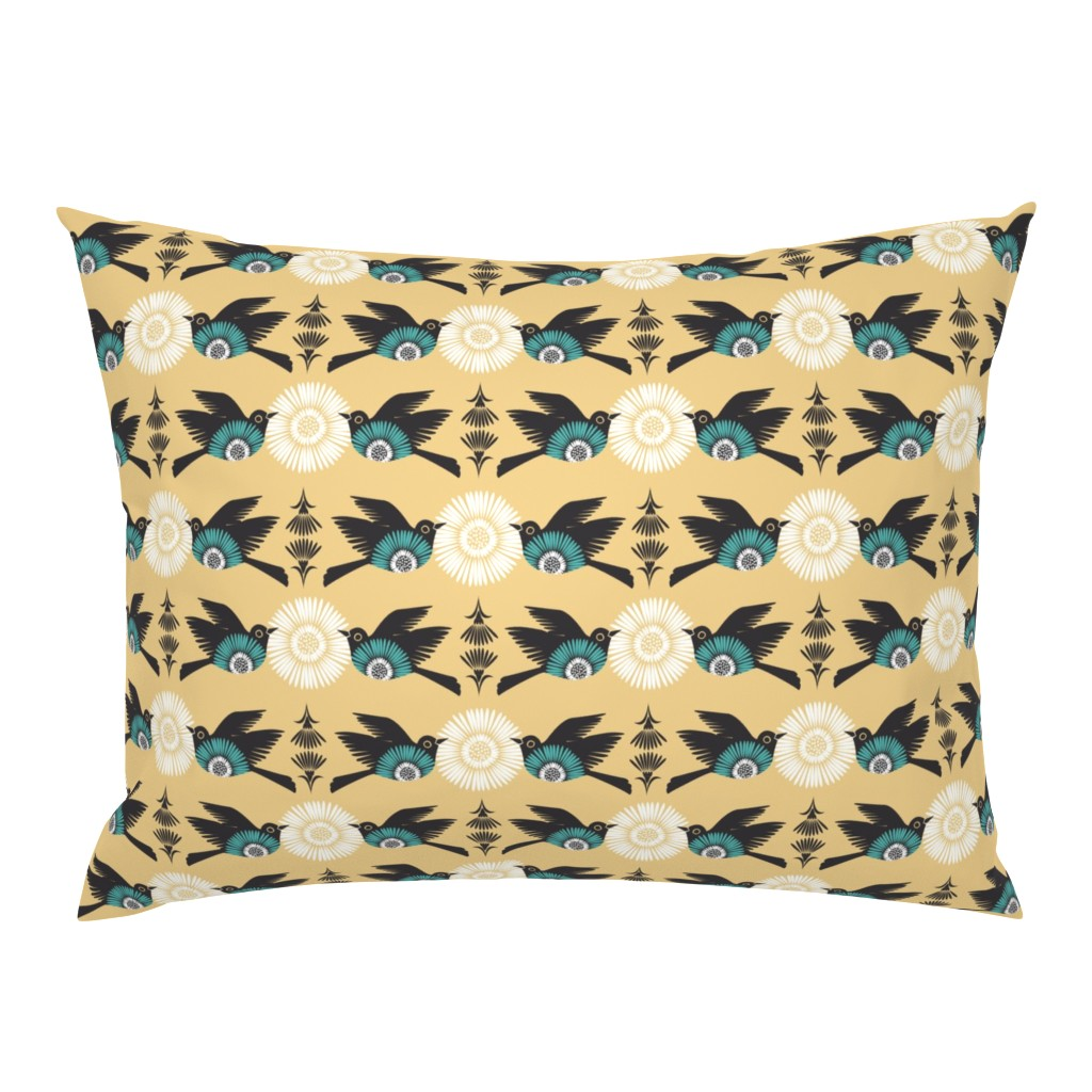 Folk Floral Birds Nature Yellow Turquoise Pillow Sham By Roostery Ebay