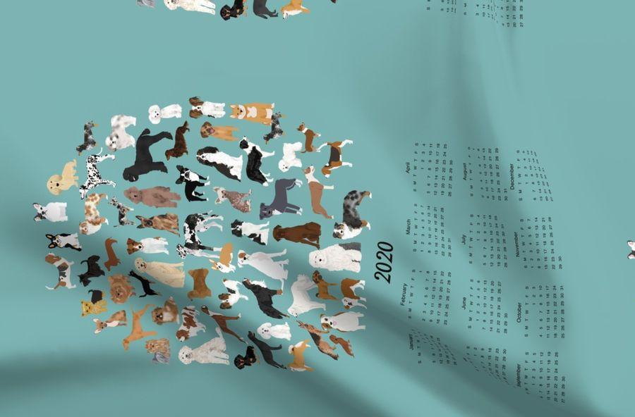 Colorful fabrics digitally printed by Spoonflower - 2019 dog breeds tea  towel calendar - gulf blue