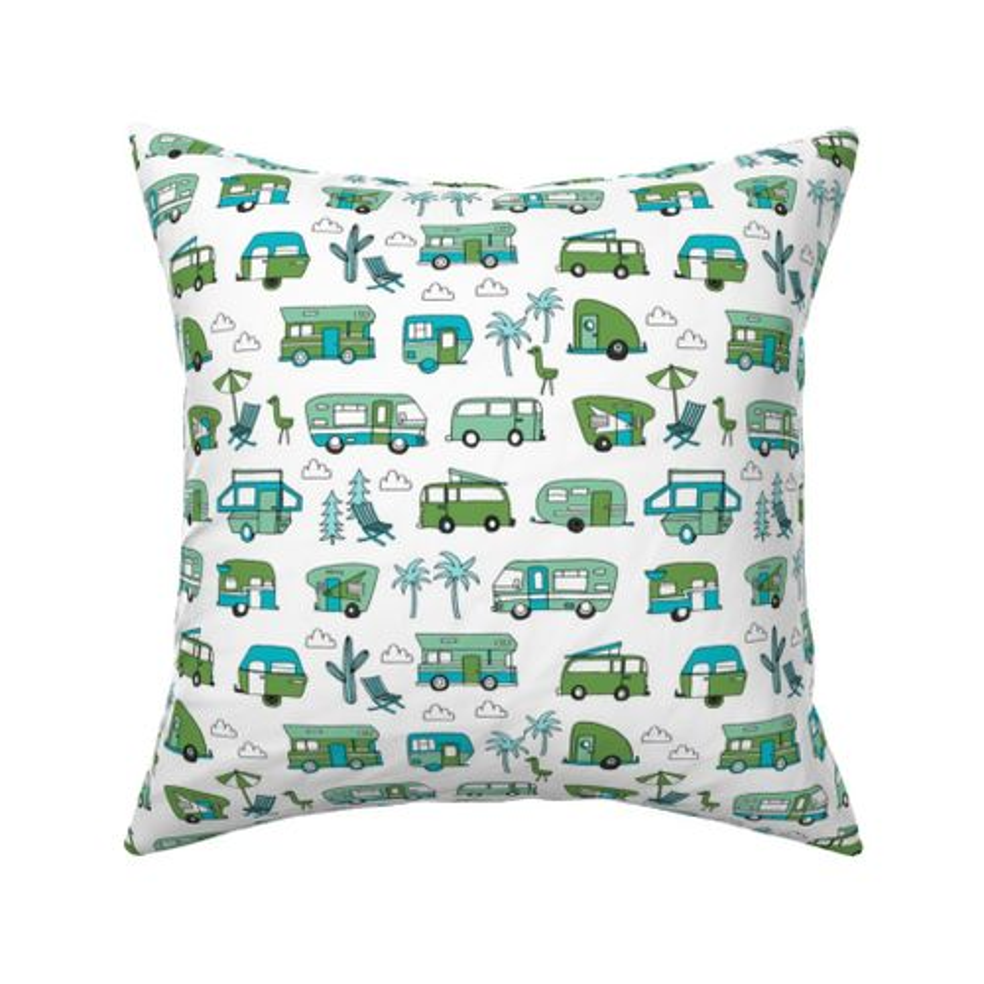 41dc83ca5d3c Fabric by the Yard vintage camper van fabric // rv road trip design - green