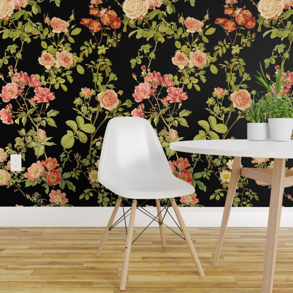 Wallpaper Roll Floral Rose Flower Vintage Victorian Black English