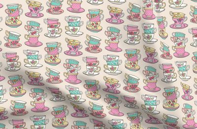 Stacked Tea cups with Vintage Roses Flow - Spoonflower