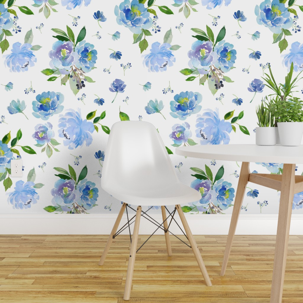 Details About Peel And Stick Removable Wallpaper Blue Baby Girl Floral Nursery Flowers Boho