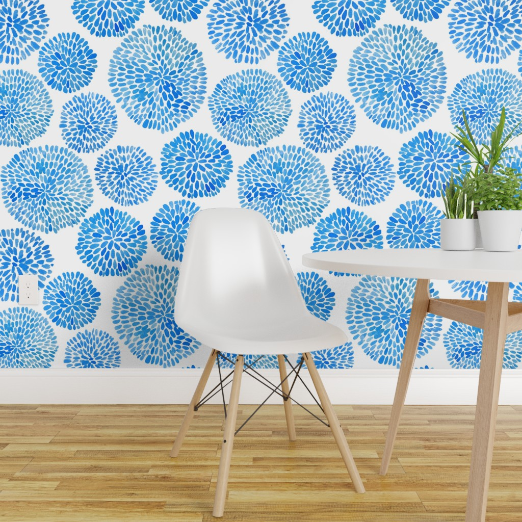 Wallpaper Roll Blue Abstract Floral Watercolor Modern Japan 24in X