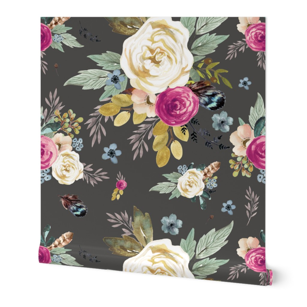 Wallpaper Roll Boho Woodland Floral Flowers Autumn Fall Feathers