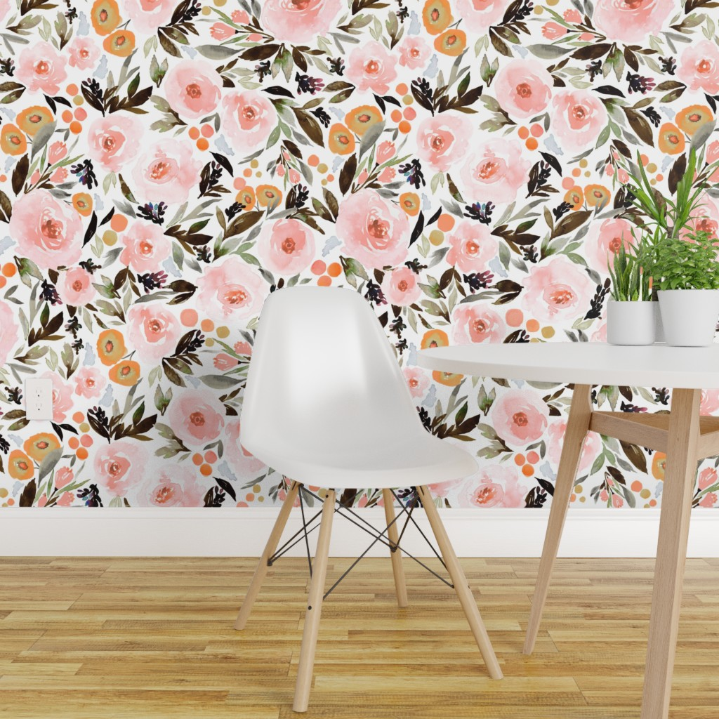 Details About Peel And Stick Removable Wallpaper Floral Boho Berries Leaves Pink Gold Indy
