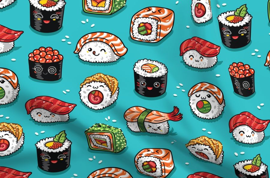 Colorful Fabrics Digitally Printed By Spoonflower Cute Kawaii Sushi
