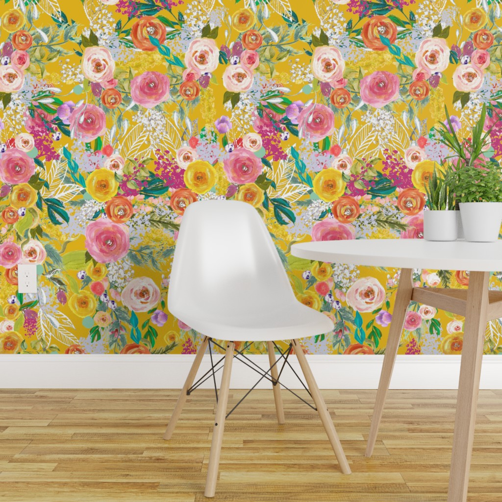 Wallpaper Roll Mustard Yellow Floral Boho Flowers Fall Autumn 24in