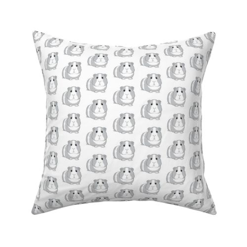 Fabric by the Yard grey guinea pigs repeating pattern