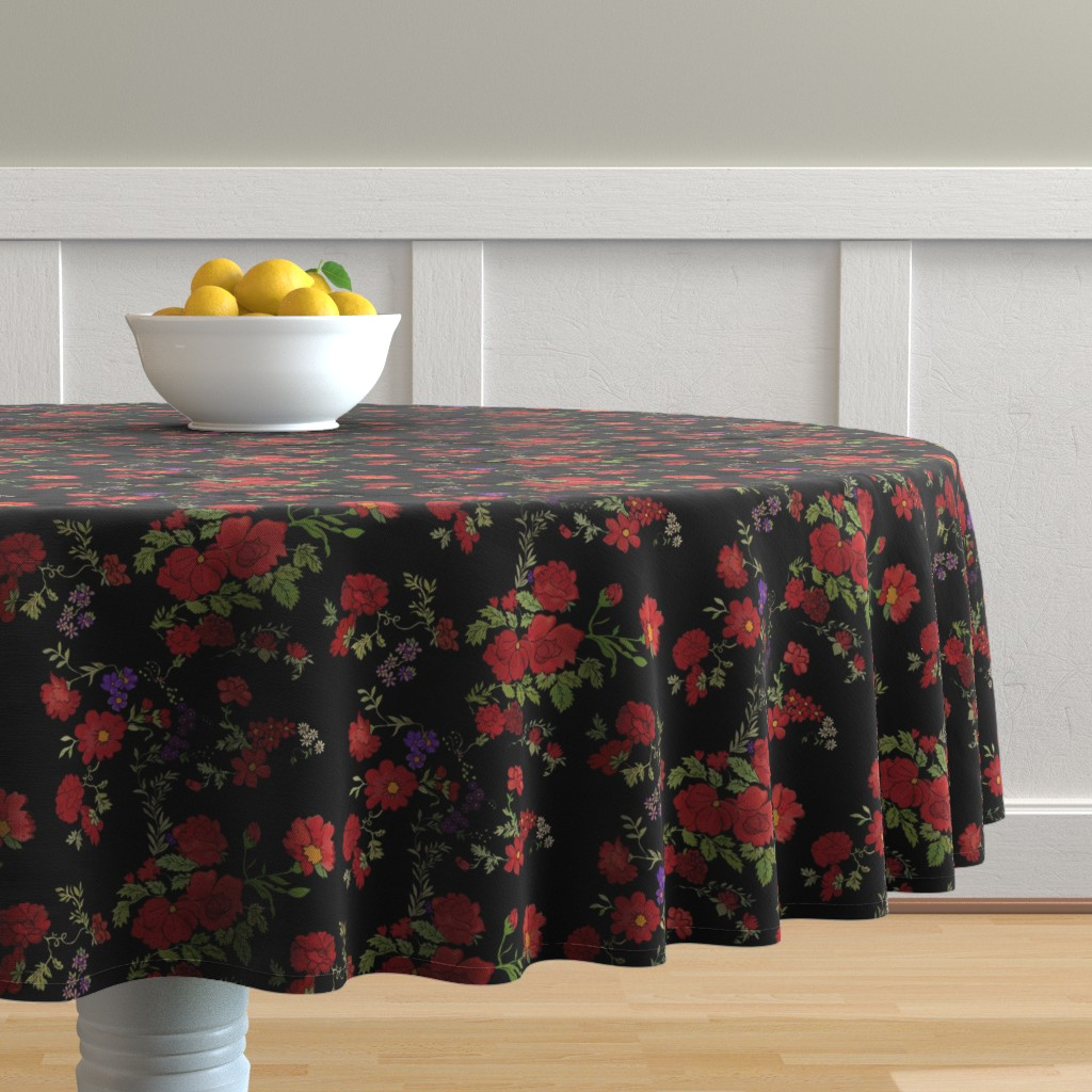 Magnificent Project 397 Red Cottage Rose On Black Spoonflower Home Interior And Landscaping Ologienasavecom