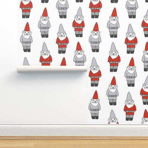 Christmas Gnomes Images.Wallpaper Gnome Fabric Winter Christmas Gnomes Elves Design Mythical Magic Fantasy White Grey