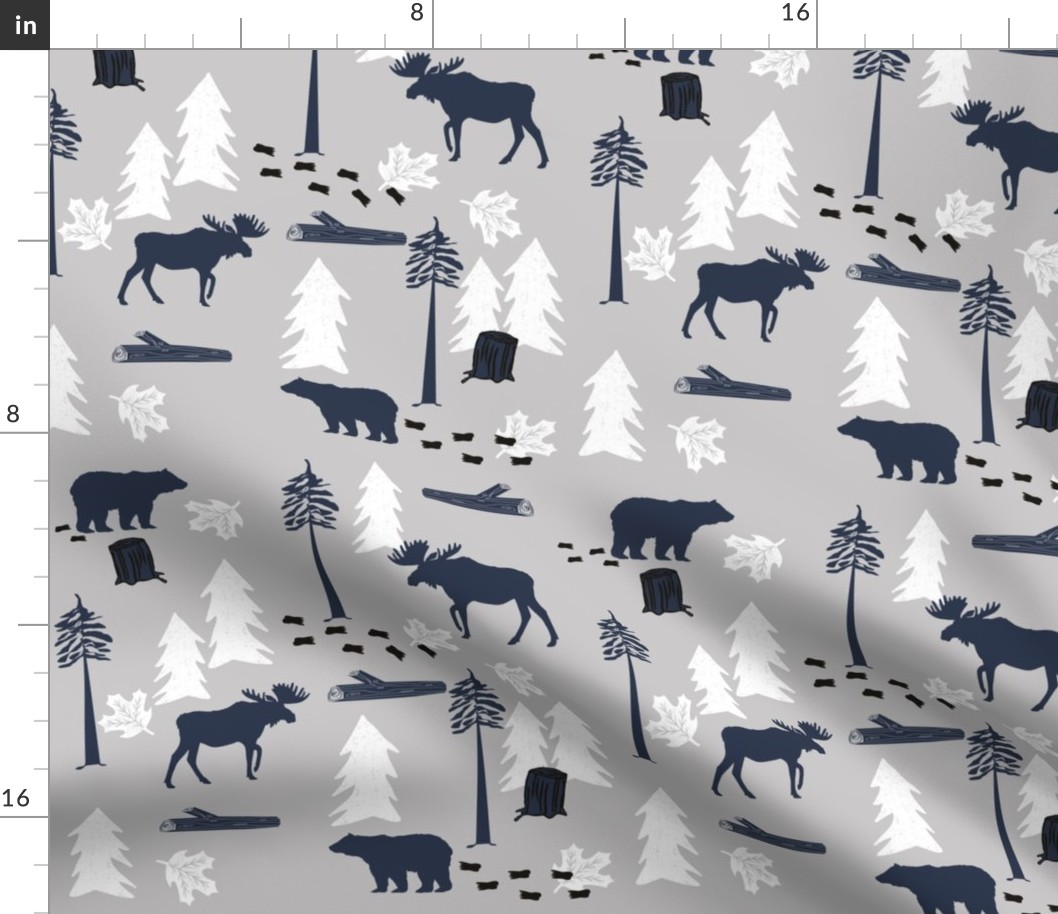 Forest Animals Woodland Autumn Rustic Fall Fabric Printed by Spoonflower BTY