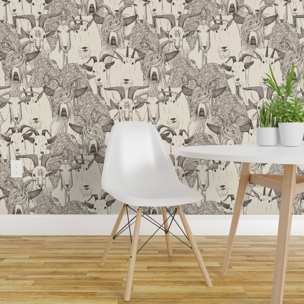Details About Peel And Stick Removable Wallpaper Goat Hand Drawing Kid Nursery Farm Animal