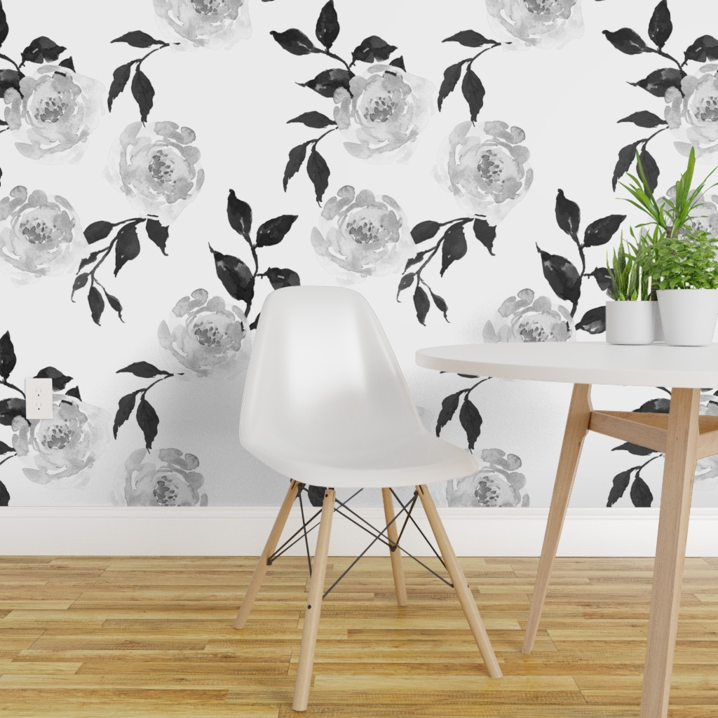 Details About Peel And Stick Removable Wallpaper Black And White Floral Boho Flowers Roses