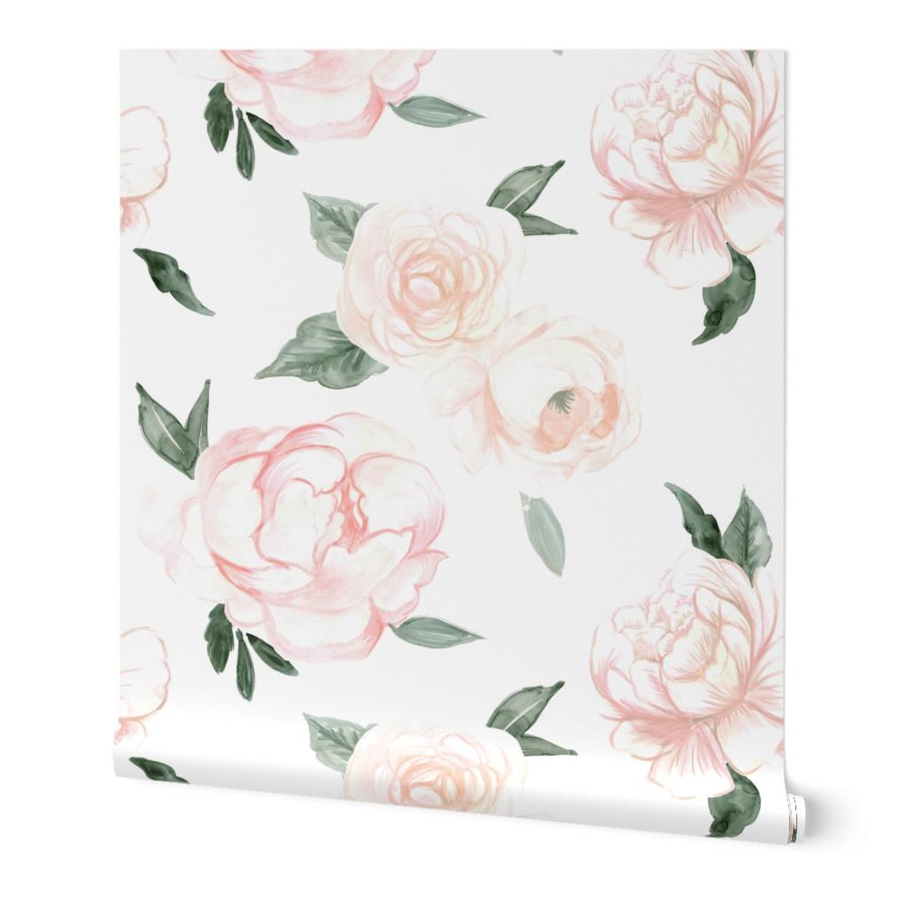 Wallpaper Roll Vintage Floral Nursery Blush Green Rose Peony