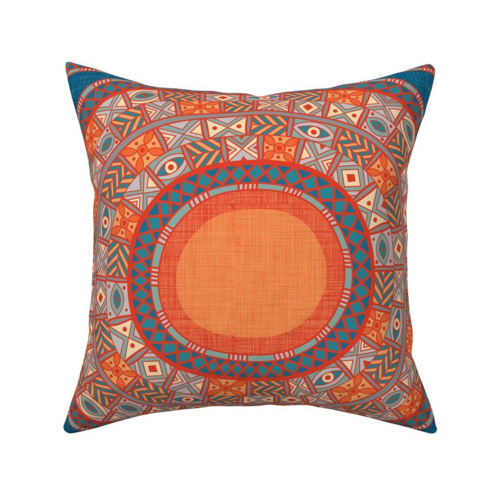 Africa Eye Orange Red Blue Throw Pillow