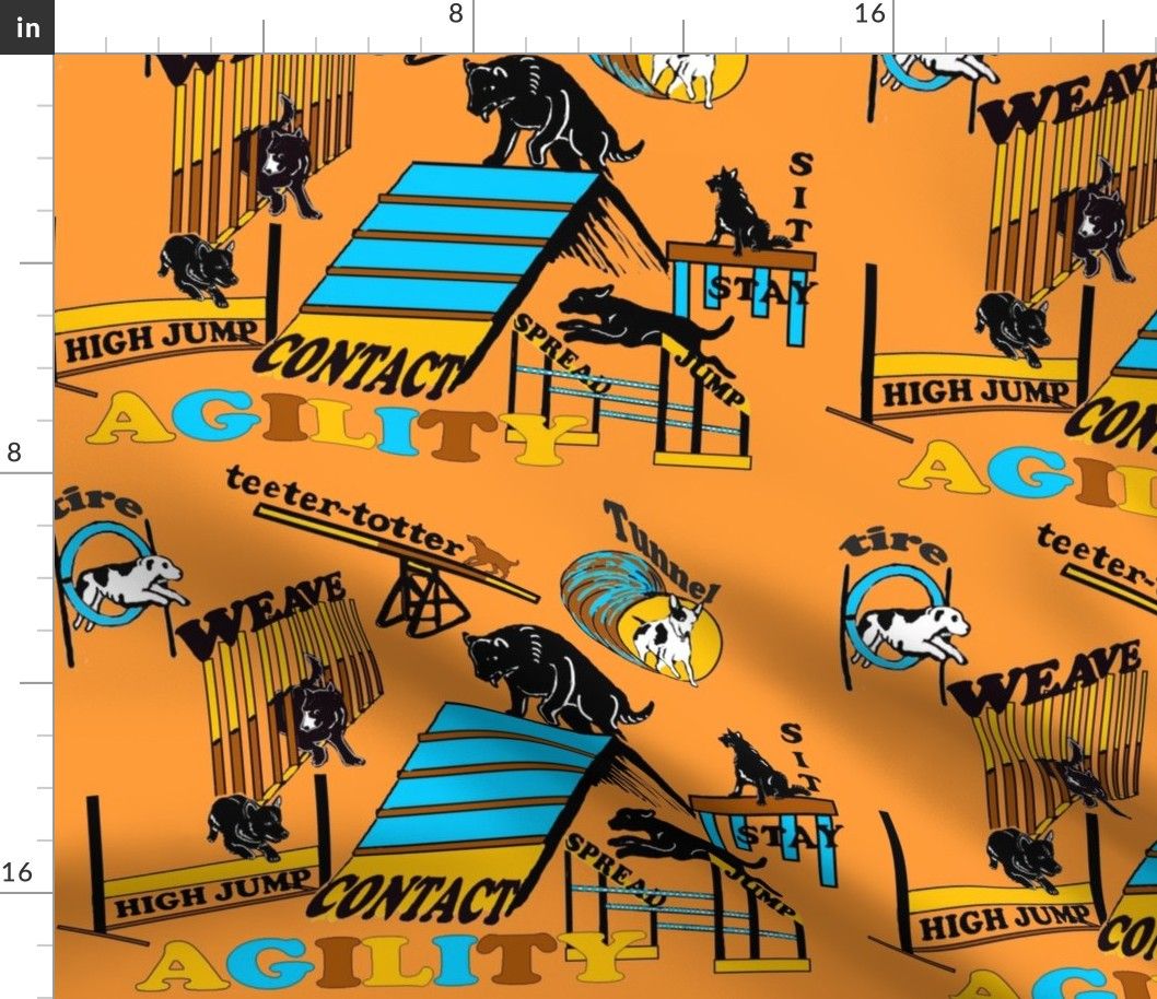Agility Orange Dogs Trial Obedience Training Fabric Printed