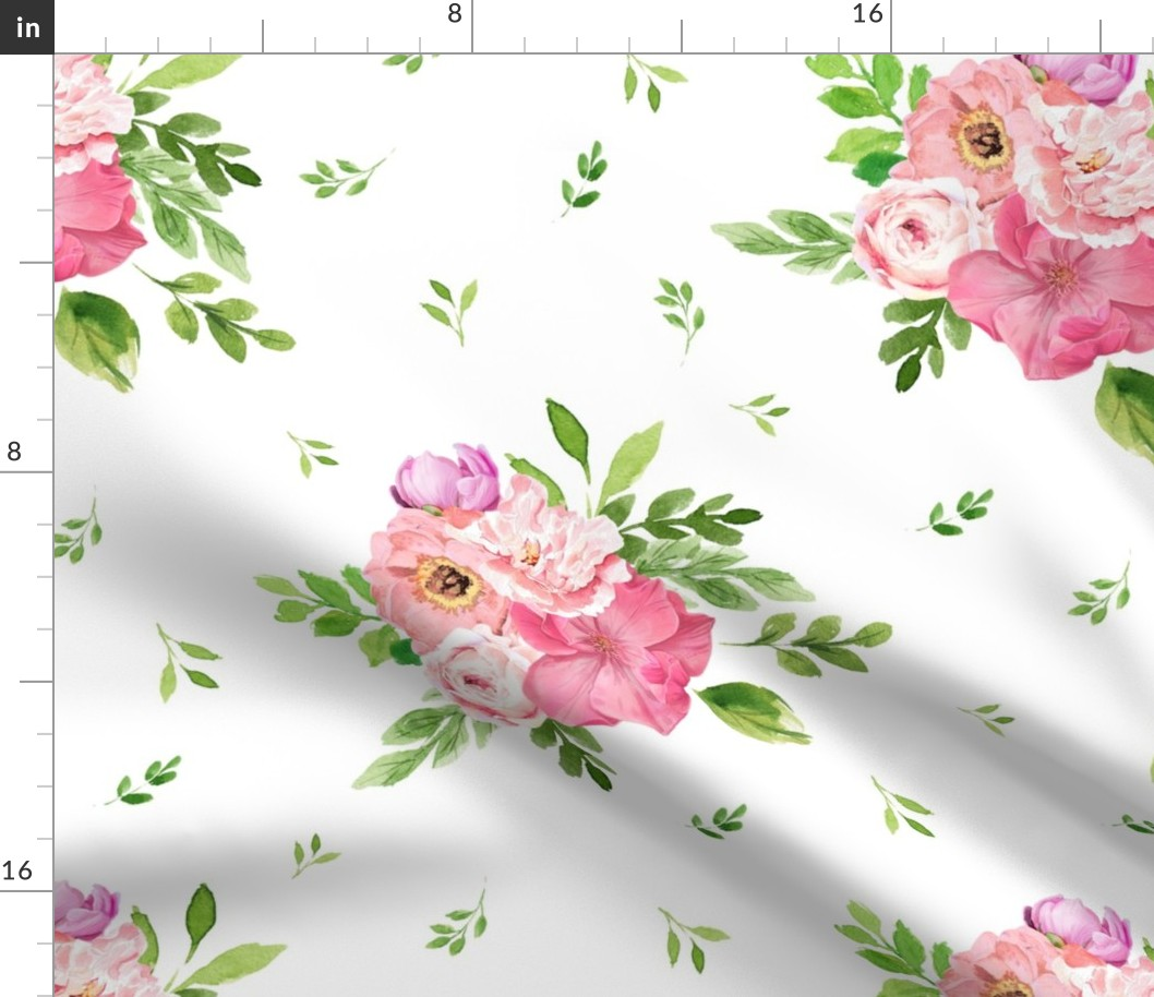 Flowers Boho Floral Shabby Chic Nursery Pink Fabric Printed By