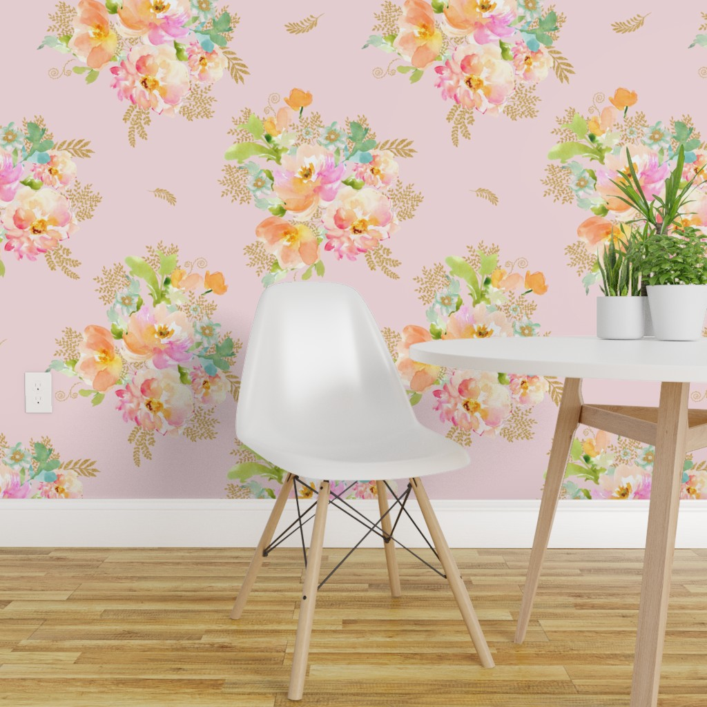 Details About Peel And Stick Removable Wallpaper Pink Floral Gold Cottage Chic Flowers Boho