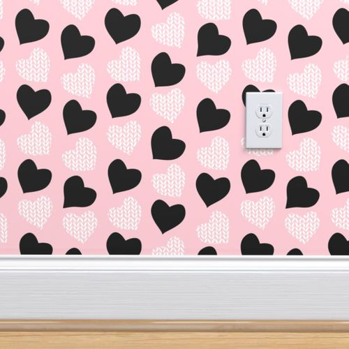 Wallpaper Wool Hearts Pastel Pink Background Black White Hearts