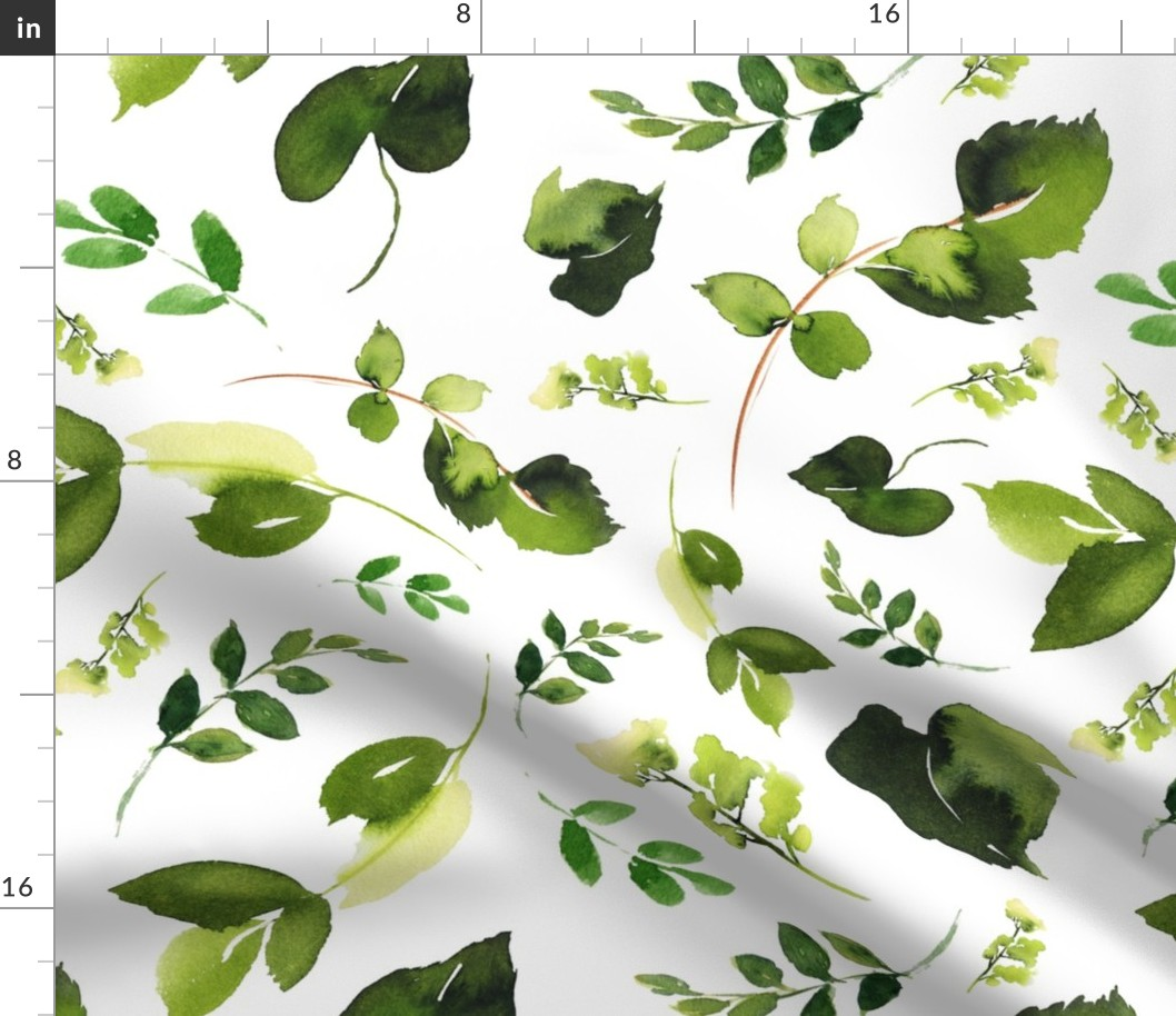 Green Leaves Boho Floral Flowers Ivy Fabric Printed By Spoonflower