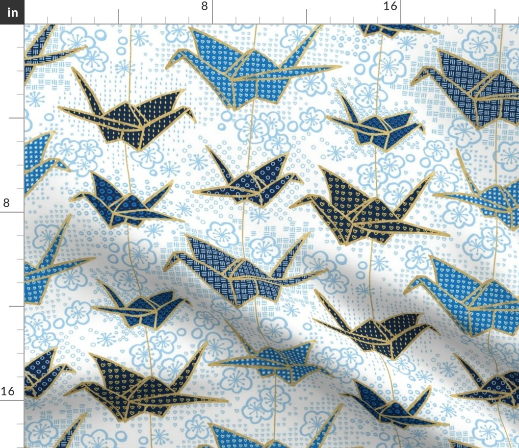 Origami Origami Japanese Art Navy Origami Fabric Printed by Spoonflower BTY
