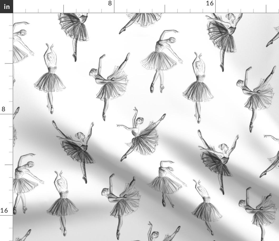 Ballerina Ballet Dance Dancer Drawing Sketch Fabric Printed By Spoonflower Bty Ebay