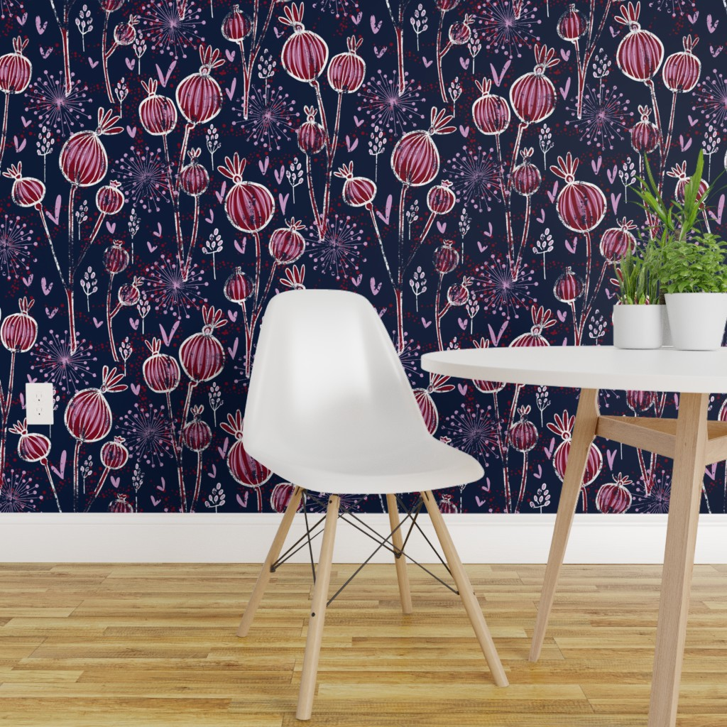 Peel And Stick Removable Wallpaper Floral Purple Modern Orchid And