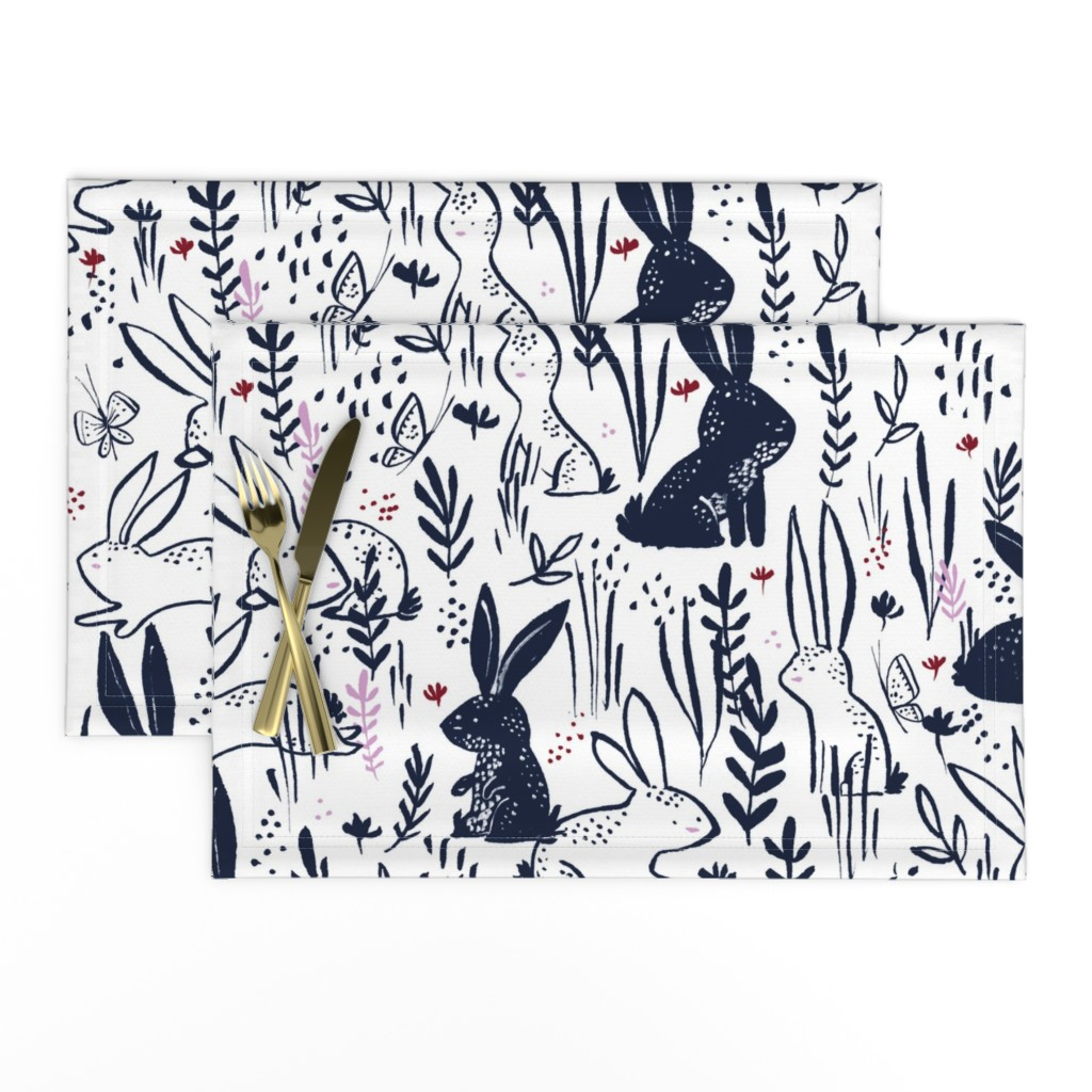 Cloth Placemats Bunny Easter Rabbits Woodland Childrens Spring Floral Set of 2