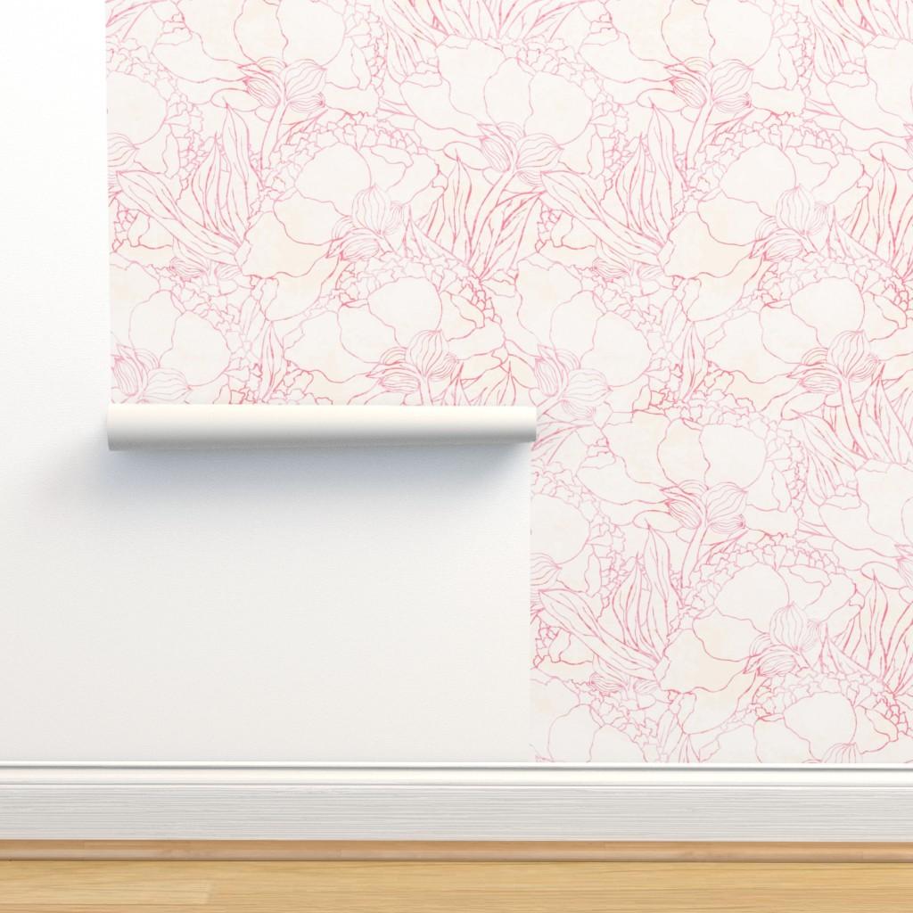 Wallpaper Roll Hot Light Light Pink Pink Peony Floral Pat Flower