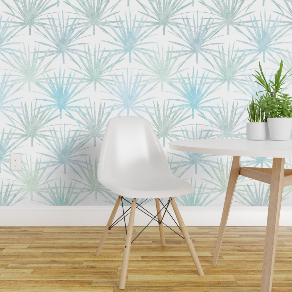 Details About Wallpaper Roll Art Deco Large Scale Tropical Botanical Palm Fronds 24in X 27ft