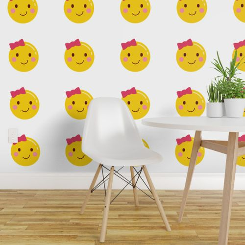 Wallpaper Cheeky Emoji Faces Girl With Hair Bow