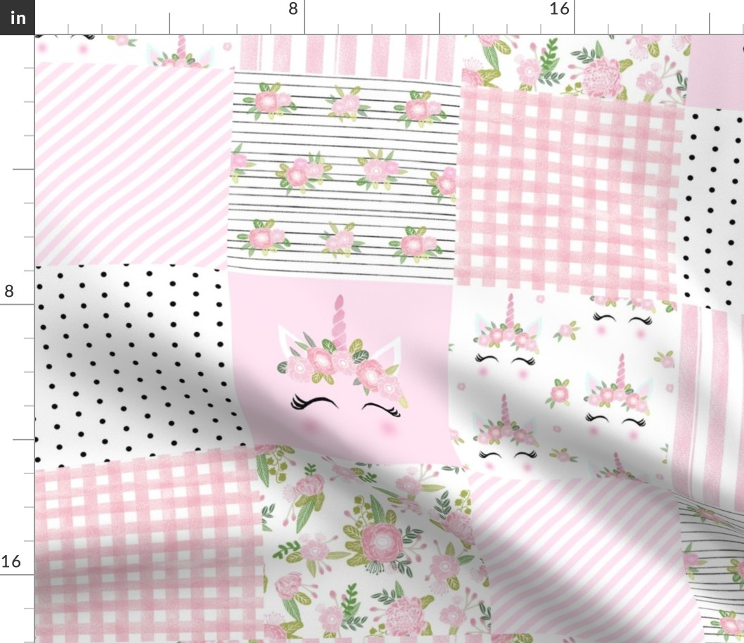 Details About Pink Unicorn Whole Cloth Quilt Cheater Nursery Fabric Printed By Spoonflower Bty
