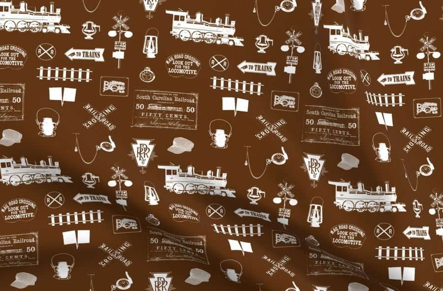 Colorful fabrics digitally printed by Spoonflower - Railroad Symbols -  Brown // Large